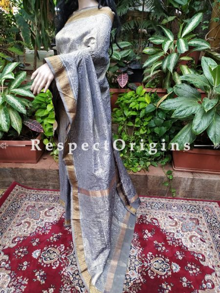 Grey Ikat Patola Saree with Zari Border; Blouse Included; RespectOrigins.com