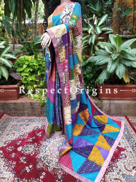 Exclusive Kantha Ikat Patola Silk Saree in Gorgeous Colors!; RespectOrigins.com