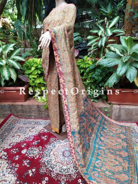 Rare Kantha Stitch in Ikat Patola Banarasi Silk Saree; Blouse Included; RespectOrigins.com
