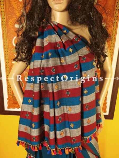 Peacock Blue Linen Handwoven Saree with Suf Hand-embroidery all over and Contrast Stripes Online at RespectOrigins.com