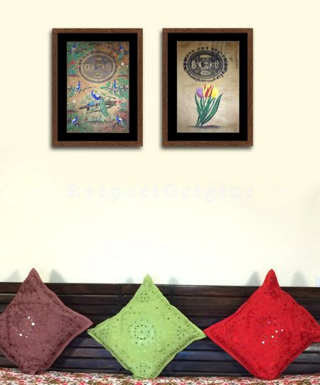 Buy Peacocks and Tulips; Set of 2; Miniature Painting; Vertical; Traditional Rajasthani Wall Art at RespectOrigins.com
