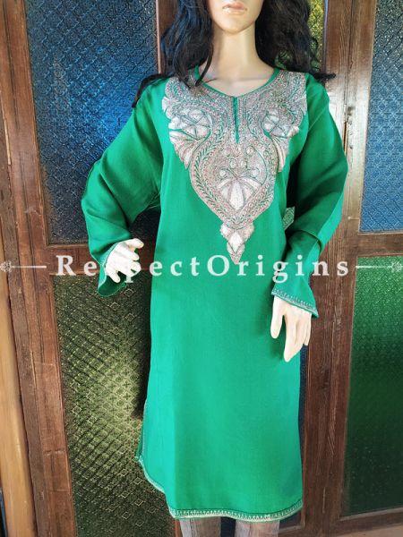 Pashmina Wollen Pheran Green Top with Tilla Embroidery; Free Size; RespectOrigins.com
