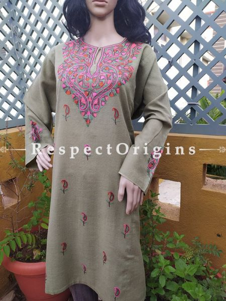 Pashmina Wollen Pheran Gray Top with Tilla Embroidery; Free Size; RespectOrigins.com