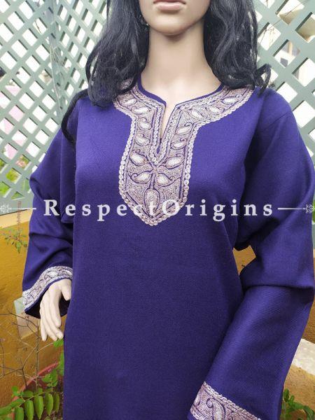 Pashmina Wollen Pheran Blue Top with Gold Tilla Embroidery; Free Size; RespectOrigins.com