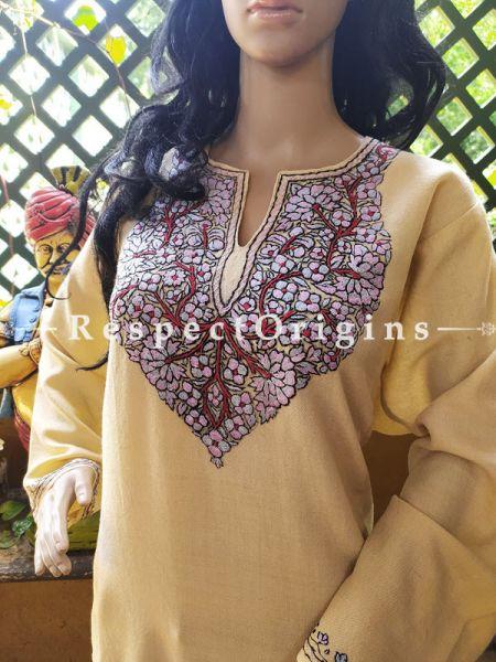 Pashmina Wollen Pheran Brown Top with Tilla Embroidery; Free Size; RespectOrigins.com