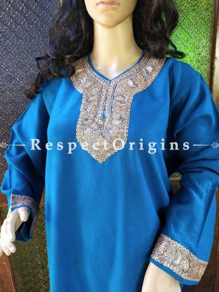 Pashmina Wollen Pheran Blue Top with Tilla Embroidery; Free Size; RespectOrigins.com