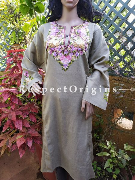 Pashmina Wollen Pheran Grey Top with Tilla Embroidery; Free Size; RespectOrigins.com