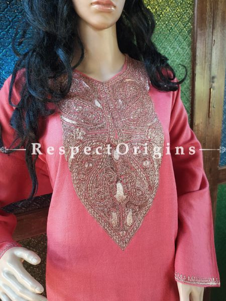 Pashmina Wollen Pheran Pink Top with Tilla Embroidery; Free Size; RespectOrigins.com