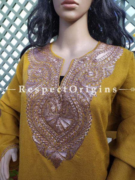 Pashmina Wollen Pheran Yellow Top with Tilla Embroidery; Free Size; RespectOrigins.com