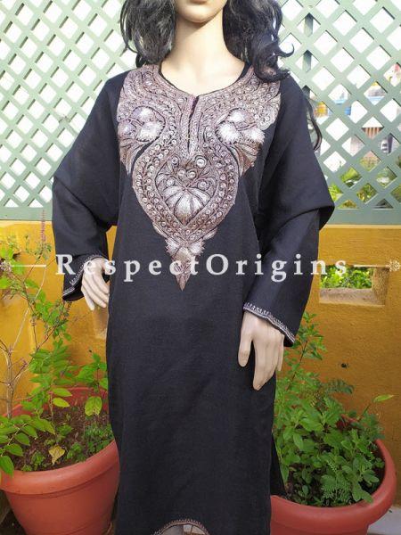 Pashmina Wollen Pheran Black Top with Tilla Embroidery; Free Size; RespectOrigins.com
