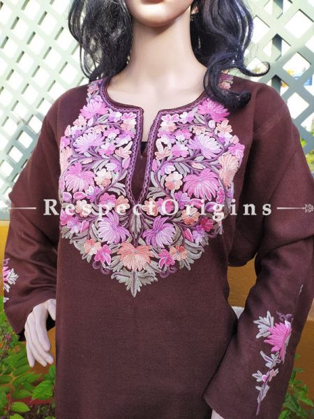 Pashmina Wollen Pheran Purpel Top with Tilla Embroidery; Free Size; RespectOrigins.com