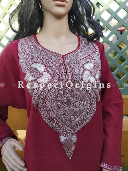 Pashmina Wollen Pheran Red Top with Tilla Embroidery; Free Size; RespectOrigins.com