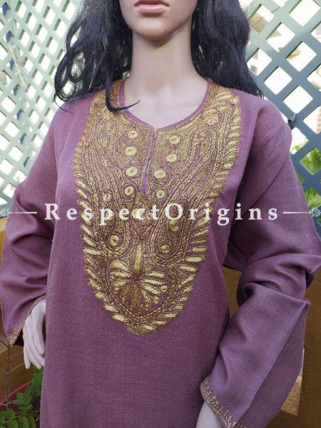 Pashmina Wollen Pheran Purple Top with Tilla Embroidery; Free Size; RespectOrigins.com