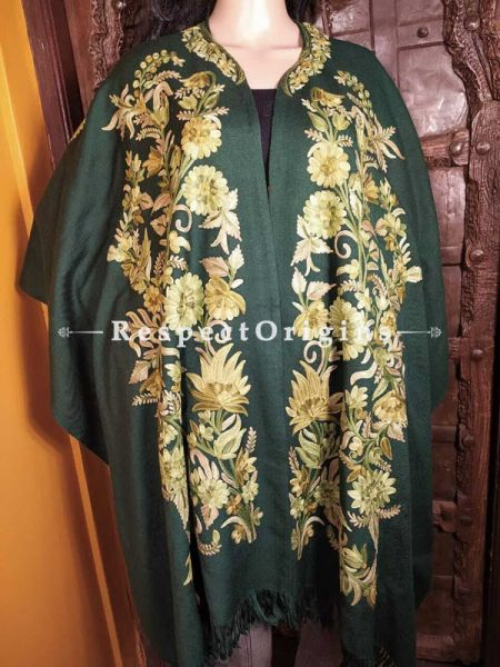 Ariwork Embroidered Green Cape Shawl on Semi- Pashmina Wool; Free Size; RespectOrigins.com