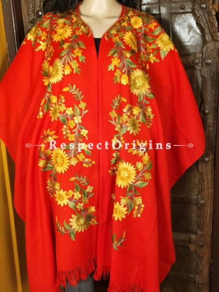 Ariwork Embroidered Red Cape Shawl on Semi- Pashmina Wool; Free Size; RespectOrigins.com