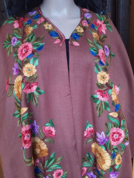 Ariwork Embroidered Purple Cape Shawl on Semi- Pashmina Wool; Free Size; RespectOrigins.com