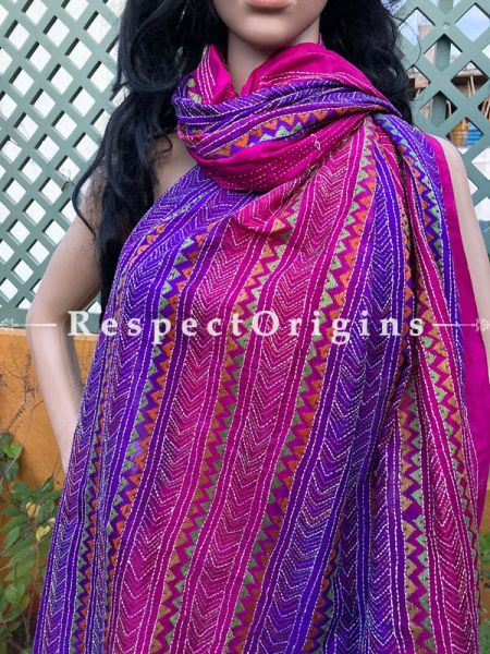 Fascinating Silken Kantha Embroidered Violet and Pink Stole, Dupatta, Shawl; RespectOrigins.com