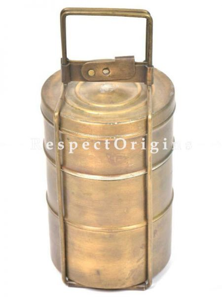 Buy Picnic or Tiffin Carrier with 3 boxes in Brass With detachable holder At RespectOrigins.com