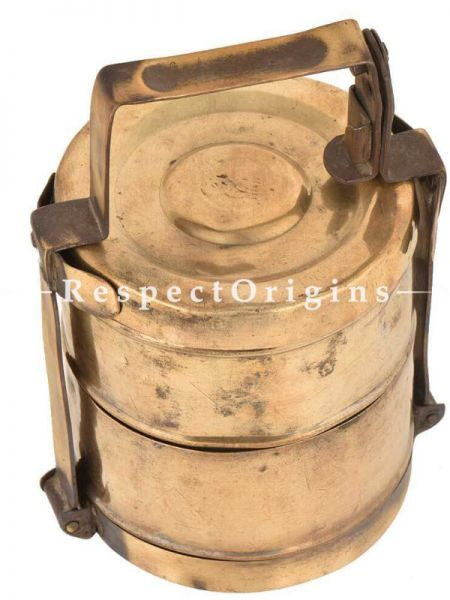 Buy Picnic or Tiffin Carrier in Brass with 2 boxes With detachable holder At RespectOrigins.com