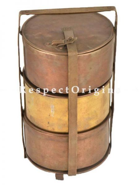 Buy Picnic or Tiffin Carrier With 2 Copper boxes and 1 Brass Box With detachable holder At RespectOrigins.com