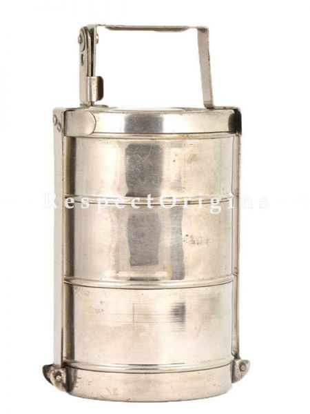 Buy Picnic or Tiffin Box With 3 boxes in Brass With detachable holder At RespectOrigins.com