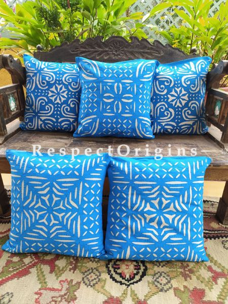 Blue Applique Hand-embroidered Blue and White Rich Cotton Throw Cushions Set of 5; 16x16 Inches
