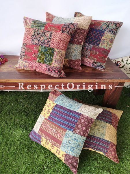 Patchwork Colourful Sanganeri Ajrakh Kantha Hand-embroidered Rich Cotton Throw Cushions Set of 5; 16x16 Inches
