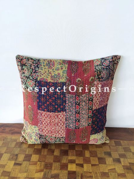 Buy Patchwork Colourful Sanganeri Ajrakh Kantha Hand-embroidered Rich Cotton Throw Cushions Set of 5at  at RespectOrigins.com