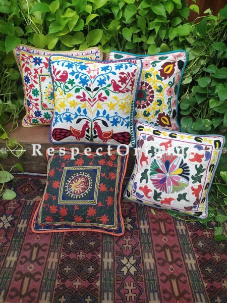Brilliant Mix n Match Suzani Embroidery Rich Cotton Throw Cushions Set of 5; 17x17 Inches
