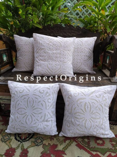 Pristine White Applique Embroidery Rich Cotton Throw Cushions Set of 5; 16x16 Inches