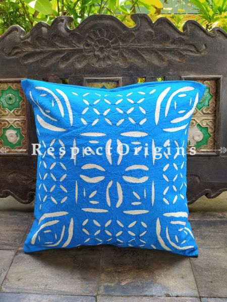Buy Blue Applique Hand-embroidered Blue and White Rich Cotton Throw Cushions Set of 5 16x16 Inches at RespectOrigins.com