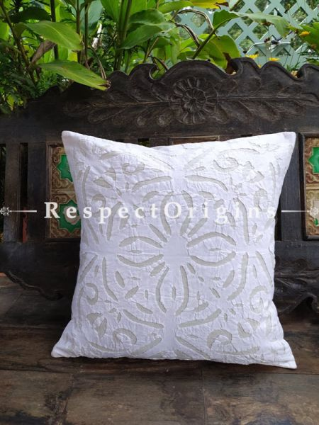 Buy Pristine White Applique Embroidery Rich Cotton Throw Cushions Set of 5 16x16 Inches at RespectOrigins.com