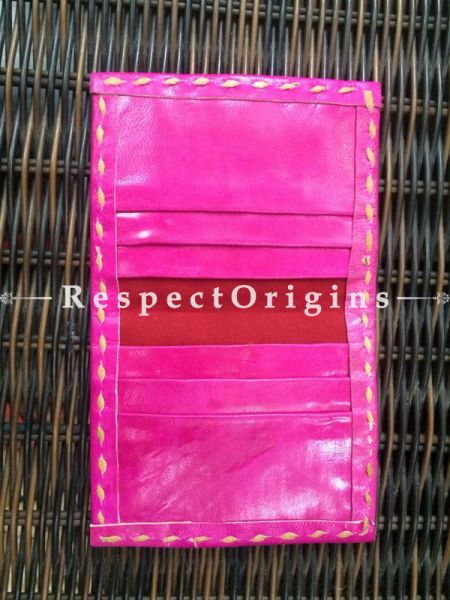 Visiting Card Holders; Genuine Handcrafted Leather; Blue, Yellow & Green On Pink Kutchi Embroidery; RespectOrigins.com