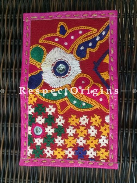 Visiting Card Holders; Genuine Handcrafted Leather; Green, Blue & Yellow On Pink Kutchi Embroidery; RespectOrigins.com