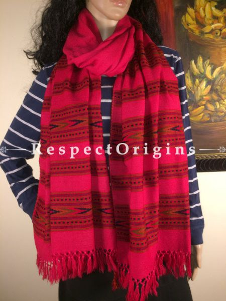 Buy Pink Hand woven Woolen Kullu Stoles From Himachal with multiple borders; Size 80 x 27 inches at RespectOrigins.com