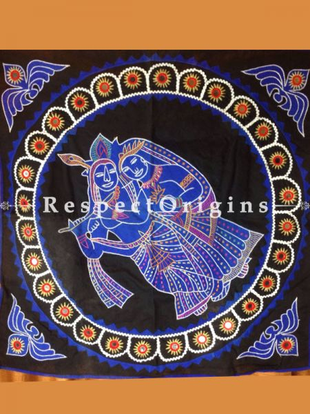 Buy Radha Krishna Pipli-work Wall Hanging; Cotton at RespectOrigins.com
