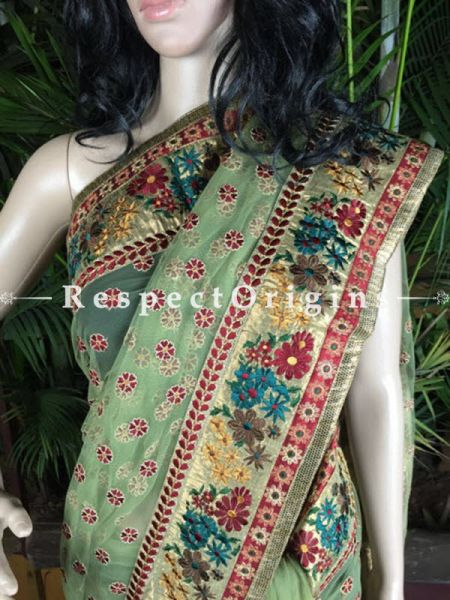 Buy Pista Green and Red; Parsi Net Saree At RespectOriigns.com