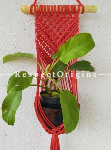 Buy Macrame Hanging Planter Holder, Red At RespectOrigins.com