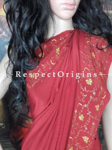 Buy  Pomegranate Red Kashmiri Embroidered Crepe Saree with motifs in Yellow  at RespectOrigins.com
