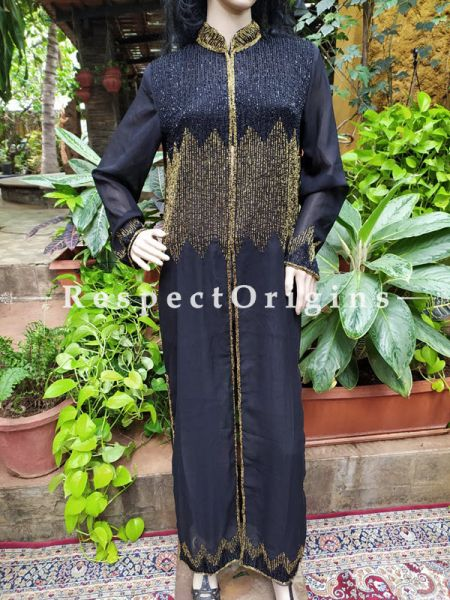 Scintillating Black Flowing Georgette Evening Gown with Beadwork and Front Closure. Large.; RespectOrigins.com