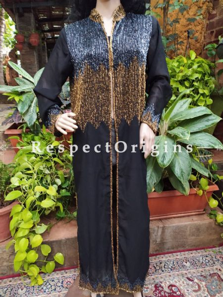 Black Flowing Georgette Evening Gown with Beadwork and Front Closure. Small.; RespectOrigins.com