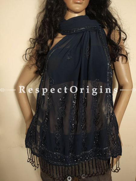 Navy Blue Georgette Handcrafted Beaded Stole Dupatta for Evening Gowns or Dresses at Respectorigins.com