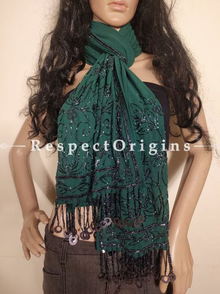 Bottle Green Formal Georgette Shrug, Stole or Scarf with Beadwork: 70 Inches x 20 Inches at respect origins.com