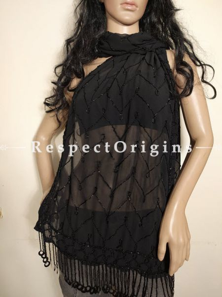 Black Formal Georgette Shrug Scarf with Beadwork: 70 Inches x 20 Inches at respect origins.com
