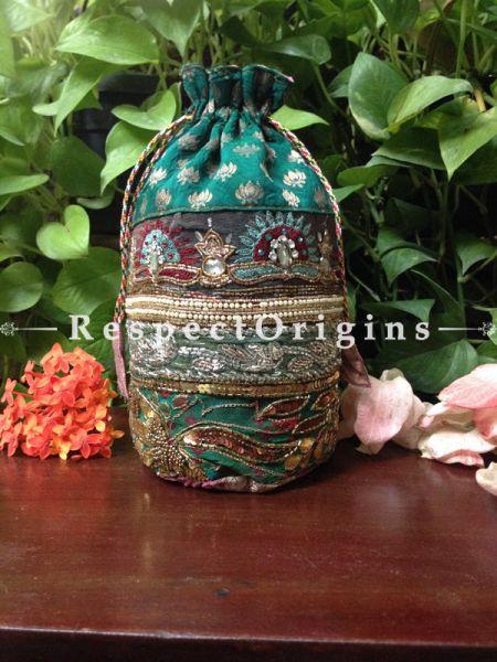 Vintage Benarasi Potli Drawstring Pouch Bags; length  10 X width 6 Inches at respect origins.com