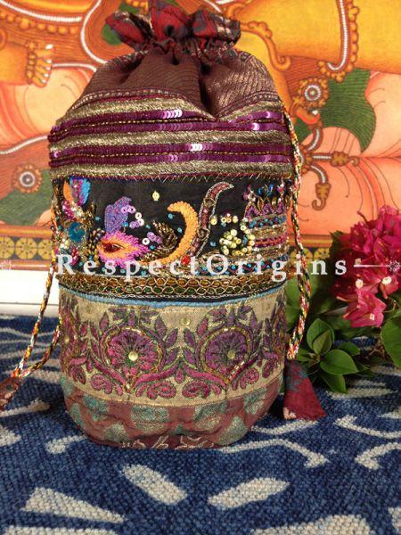 Vintage Benarasi Potli Drawstring Pouch Bags;length  10 X width 6 Inches at respect origins.com