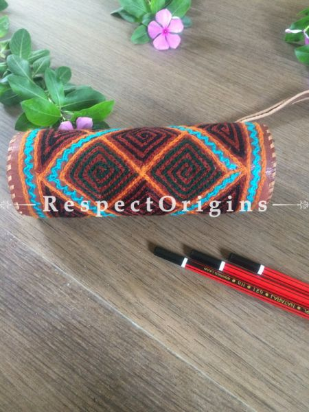 Multicolor Rajasthani Embroidered Leather Pouch. RespectOrigins.com