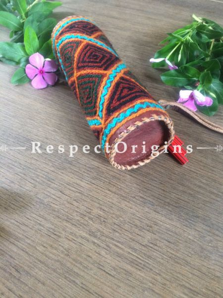 Buy Multicolor Rajasthani Embroidered Leather Pouch. RespectOrigins.com