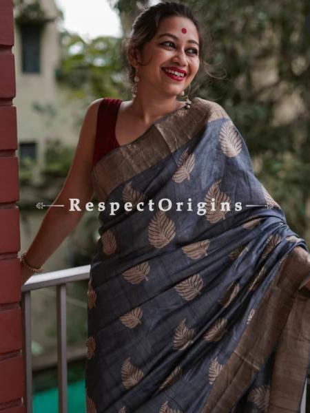 Blue Handwoven Pure Muga Tussar Silk Saree ; 5.5 Meters Length ; 120 Thread Count ; Blouse Included; RespectOrigins.com