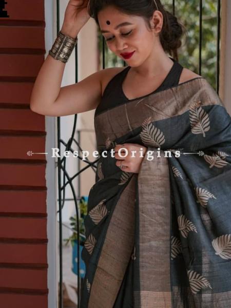 Black Handwoven Pure Muga Tussar Silk Saree ; 5.5 Meters Length ; 120 Thread Count ; Blouse Included; RespectOrigins.com